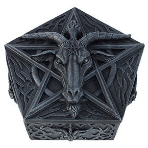 BAPHOMET HEAD TRINKET BOX IDOL OCCULT WORSHIP SATANISM SABBATIC GOAT - Head Trinket