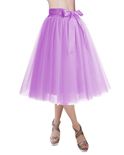 DRESSTELLS Knee Length Tulle Skirt Tutu Skirt Evening Party Gown Prom Formal Skirts Lilac M-L]()