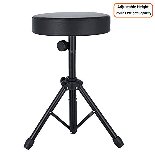 Drum Thrones Adjustable Rotatable Padded Drum Stool with Anti-Slip Feet for Adults and Kids,Universal Drum Seat for Drummer, Percussion, Keyboard, Piano Players (Rotatable Height Adjustable)
