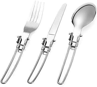 OFKPO Cubiertos de Acero Inoxidable Plegables Portátil, 3 pcs Cuchara, Tenedor y Cuchillo para Camping, Viajar, Aire Libre etc