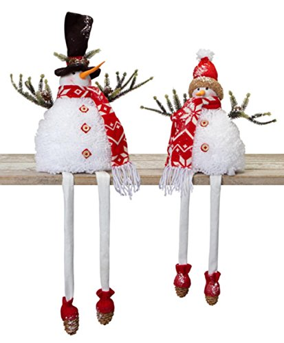 Melrose Set of 2 Glittered Snow Covered Smiling Snowman with Dangling Legs Christmas Table Top Figures 16