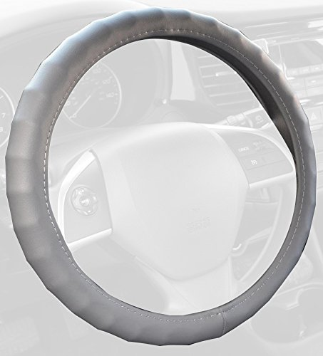 BDK Genuine Leather Car Steering Wheel Cover 13.5