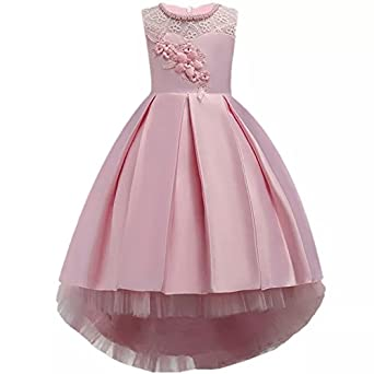 fc9dc5446 Moda Fina Baby Girl's Satin Floral Long Ball Gown: Amazon.in: Clothing &  Accessories