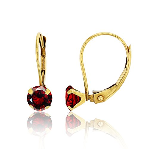 14K Yellow Gold 6mm Round Garnet Martini Leverback Earring ()