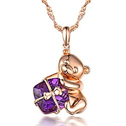 Purple Amethyst Pendant In Rose Gold