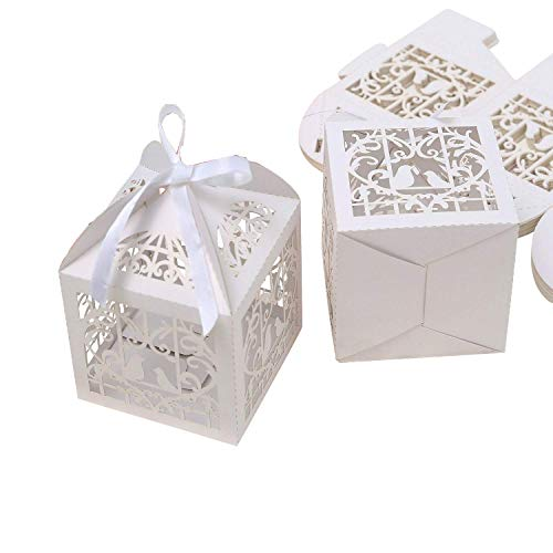 (PONATIA 25Pcs/Lot 4 x 4 inches Laser Cut Pearl Paper Party Wedding Favor Ribbon Candy Boxes Large Size Gift Box for Cupcake (White)
