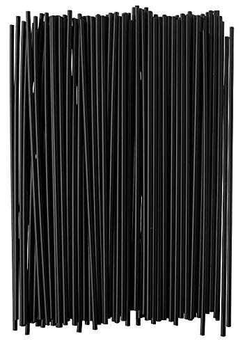 (Crystalware, Plastic Stir Straw, Sip Stirrer, For Coffee and Cocktail, 7 1/2 Inches 1000/Box, Black)