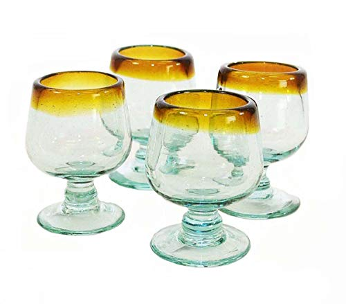 Set of 4, Brandy Shaped Tequila Sippers-4 oz, Amber Rim ()