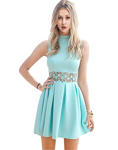 Lady's Hollow Out Waist Ruffle Skater Slim Fit Party Clubwear Short Dress(Lable S)