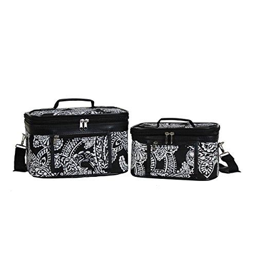 Womens Case Traveler - World Traveler Women's 2-Piece Cosmetic Case Set, Black White Paisley