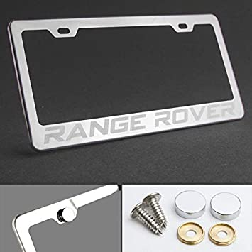 chrome metal Range Rover Chrome license plate frame Brushed aluminum text