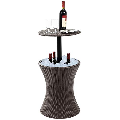 - Display4top 7.5-Gal Cool Bar Rattan Style Outdoor Patio Pool Cooler Table with Height Adjustable Outdoor Wicker Ice Bucket Cocktail Coffee Table for Party, Pool, Deck, Backyard Use (Brown)