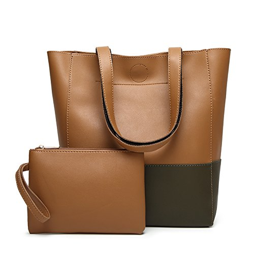 GUANGMING77 Bag_Bucket Bag Farbe Stitching Tote Bag Würfel Mutter Tasche Hit Gray brown brown