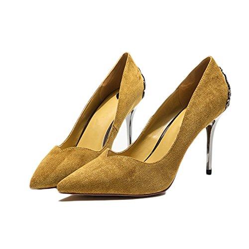 Court Mariage 5 Fashion De EU 8 Haut Noir Party Chaussures 5 Chaussures Femme 38 Sexy UK Nightclub Travail 5 Yellow Talons Femmes 8atPvq