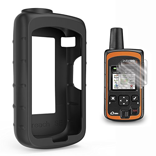 TUSITA Case with Screen Protector for DeLorme inReach SE/Explorer Satellite Tracker,Replacement Silicone Protective Skin Cover (Black) by TUSITA