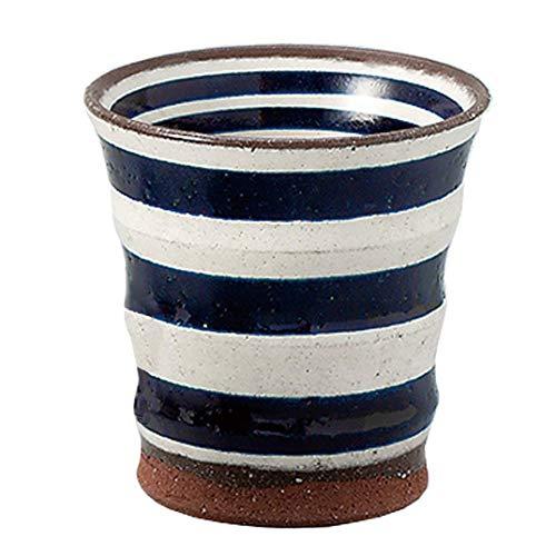 Teacup ARITA Ware Deep Red Border Blue glaze 210cc