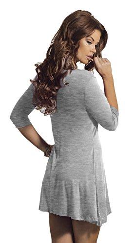 Femmes robe tunique à manches 3/4 col V trapèze ourlet patte