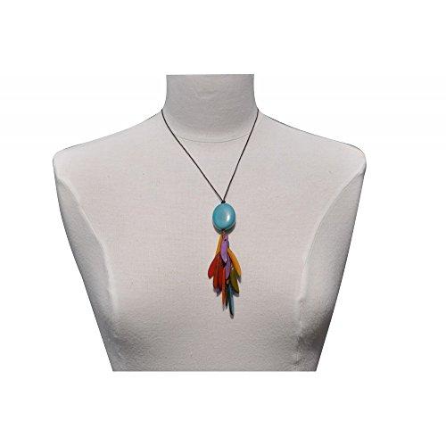 Les Poulettes Bijoux - Collier Tagua Perle Turquoise et Lamelles Multicolores