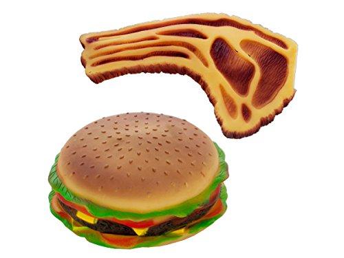 Bulk Buys OD938-6 Squeaky Hamburger and Steak Dog Toy