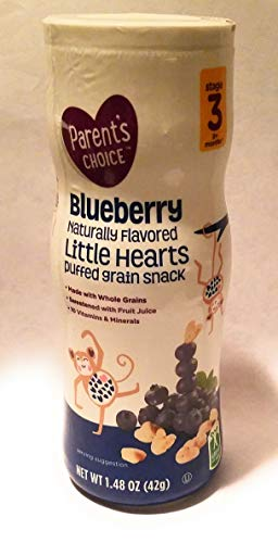 Wide Puffed Heart - Parents Choice Blueberry Little Hearts Puffed Grain Snacks, 1.48 Oz. Stage 3