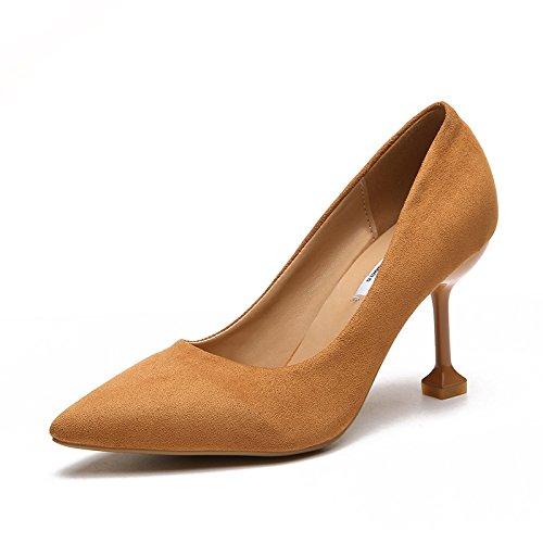 Cm En 3 Zapatos de Bajos 5 Luz Única Con Primavera Femenina La Tacones De Es Fina Punta De Amarillo Con Altos GAOLIM 8cm Zapatos RSdnRq