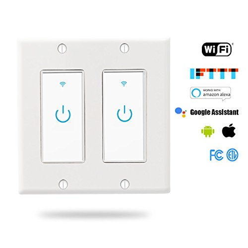 WiFi Light Switch, Smart Wall Switch 2 Gang, Touch Switch Remote Control- Compatible with Alexa Google Assistant and IFTTT, No Hub Required, Control Your Fixtures From Anywhere, ETL Listed