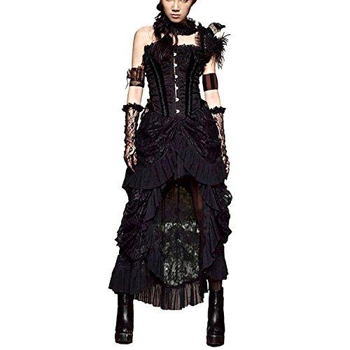 [QuietClouds Steampunk Aristocrat Victorian Goth Banquet Asymmetrical Lace Skirt,752-XXXL] (Victorian Aristocrat Costume)
