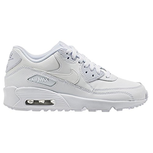 NIKE Air Max 90 LTR (GS) Boys Running-Shoes 833412 (3.5 M US Big Kid, White/White) by NIKE