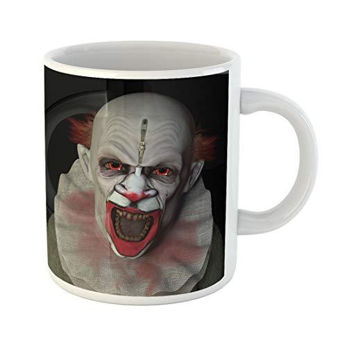 Emvency Funny Coffee Mug Monster Scary Clown Glaring at You Red Eyes Halloween 11 Oz Ceramic Coffee Mug Tea Cup Best Gift Or Souvenir]()