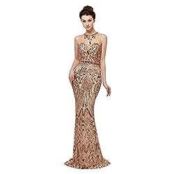 Women's High-Neck Applique Sequin Beading Dress
