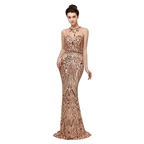 Lazacos Women's Mermaid High Neck Applique Sequin Beading Prom Dress 2018 Long Evening Gown Gold US10