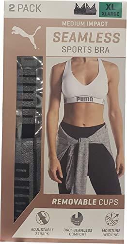 Puma Ladies Sports Bra Extra Large Size, 2 Count, Black-Gray