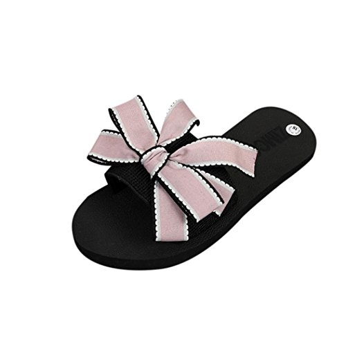Colorful TM Fashion Women Teenager Girl Bow Summer Sandals Slipper Indoor Outdoor Home Flip-Flops Beach Pool Slipper Shoes Pink