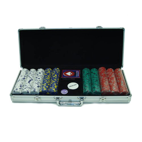 Trademark Poker 500 13-Gram Pro Clay Casino Chips with Aluminum Case - Pro Clay Poker Poker