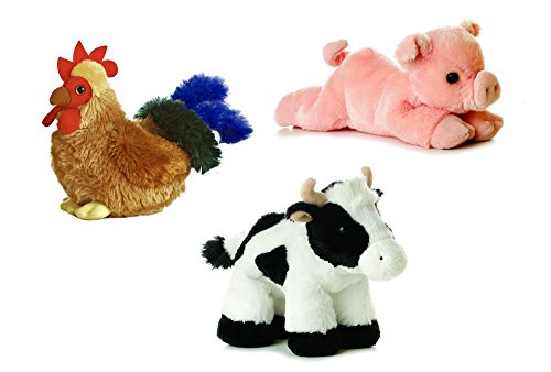Aurora Farm Plush Animal Bundle Percy Pig Moo Cow Cocky Rooster