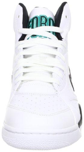 Nike Hommes Air Force 180 Blanc Moyen / Noir-loup Gris-bleu Émeraude 537330-100 Chaussure Blanc / Noir-loup Gris-bl Emrld