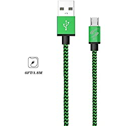 StyleTech Inc. Aluminum Nylon Braided Series 6 Feet Micro-USB Syncing/Charging Data Cable for Android, Samsung, HTC, Windows, Motorola, Tablets, etc. (1.) Green)