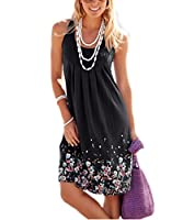 AELSON Womens Summer Casual Sleeveless Mini Printed Vest Dresses