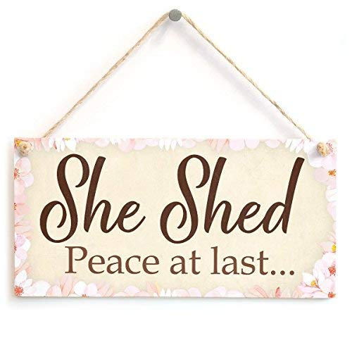 5x10 Hanging Wooden Sign She Shed Garden Sign Gift for Her Woman Cave Mum Sister Friendship Home Plaque