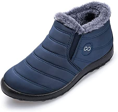 Womens Snow Boots Fur Warm Ankle Booties Waterproof Comfortable Slip On Outdoor Winter Shoes Plus Size