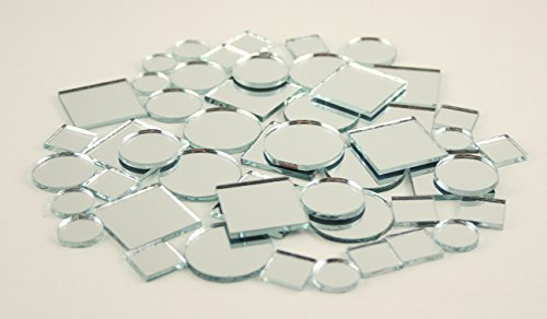 Mini Glass Craft Square & Round Mirrors Mosaic Tiles Assorted Sizes 1/2-1 inch 100 (Assorted Mirror Tile)