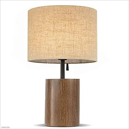 Tire la lámpara de mesa de madera del interruptor, pantalla ...