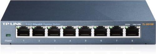 TP-Link TL-SG108 V3 8-port Metal Gigabit Switch (10/100/1000M RJ45 ports, lüfterloses Passivkühlkonzept) schwarz