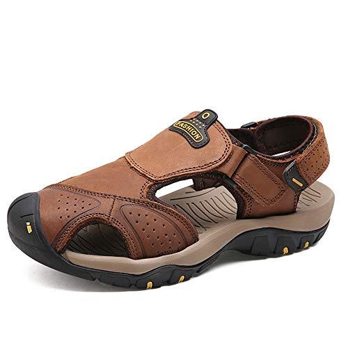 sandali Sandali Light da uomo ciabattine Brown sandali regolabili traspiranti traspiranti estive pelle in PZwrTqxHYw