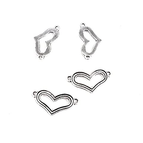 30 Pieces Antique Silver Tone Jewelry Making Charms Z5UL6 Heart Connector Pendant Ancient Findings Craft Supplies Bulk - Heart Charm Jewelry Finding