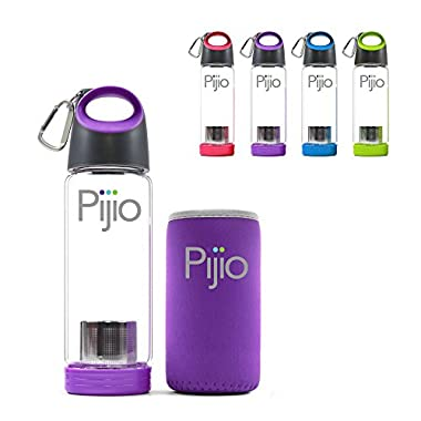 Insane Sale - Pijio Tea Infuser (Loose), Fruit Infusion, Cold Brew Coffee Maker, Infused Borosilicate Glass Water Bottle Mug. Best Travel & Sports, BPA Free (500ml 17oz) (purple)