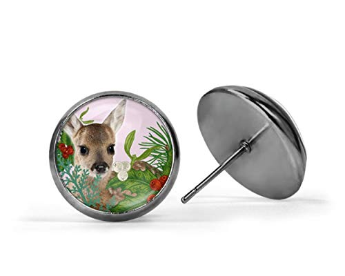 (yi sheng Fawn, Stud Post Earrings, Holly, Bambi, Baby Reindeer, Christmas Stocking Stuffer, Ear)