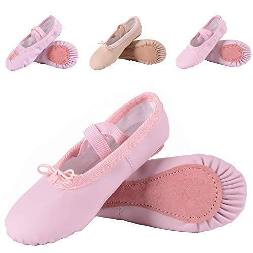 (Leather Ballet Shoes for Girls/Toddlers/Kids, Full Sole Leather Ballet Slippers/Dance Shoes, Pink/Nude (Foot Length:160mm - Toddler - 9.5M US, Full)