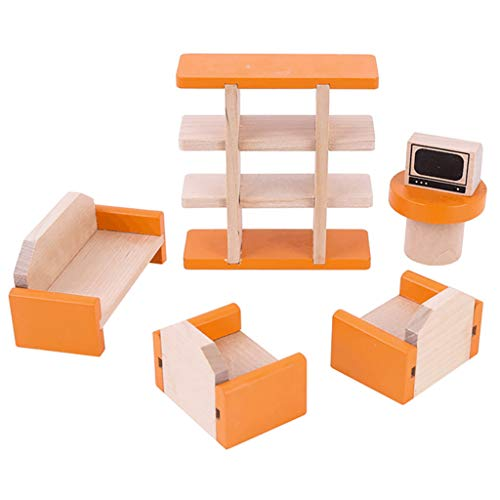 NszzJixo9 Mini Furniture Play House - Educational Toys DIY Small Role Playing, Furnishings Furnitur Bookshelf Miniature Room Kids Pretend Toy Dollhouse (D)