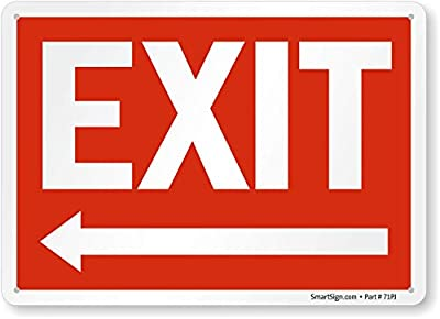 """""""Exit"""" Sign With Left Arrow By SmartSign   10"""" x 14"""" Plastic"""